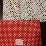 fabric choices: white with multicolored polka dots and red with white polka dots
