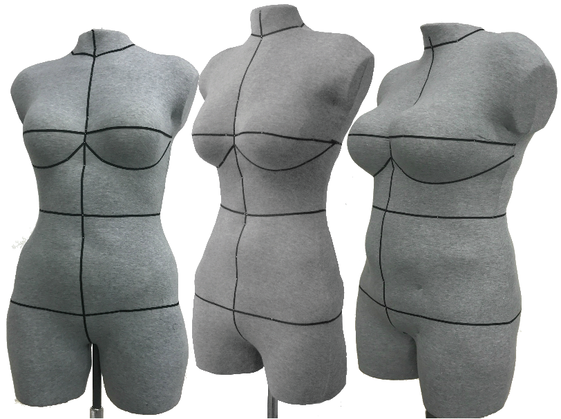 three different shape custom dress forms